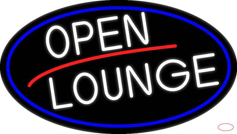 White Open Lounge Oval With Blue Border Real Neon Glass Tube Neon Sign