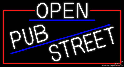 White Open Pub Street With Red Border Real Neon Glass Tube Neon Sign