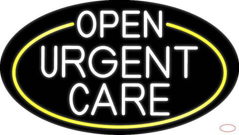 White Urgent Care Oval With Yellow Border Real Neon Glass Tube Neon Sign