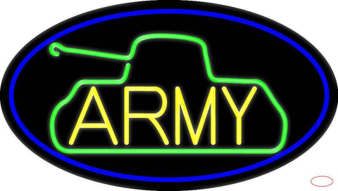 Yellow Army With Blue Oval Border Real Neon Glass Tube Neon Sign
