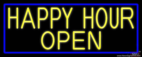 Yellow Happy Hour Open With Blue Border Real Neon Glass Tube Neon Sign