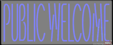 Blue Public Welcome Real Neon Glass Tube Neon Sign