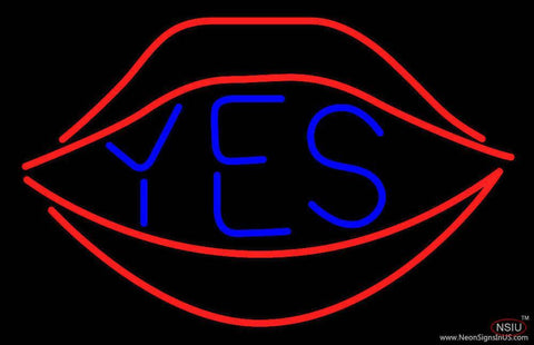 Yes With Red Lips Real Neon Glass Tube Neon Sign