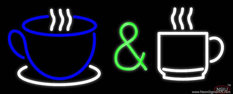 Coffee And Espresso Cups Logo Real Neon Glass Tube Neon Sign