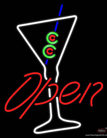 Martini Glass Bar Open Real Neon Glass Tube Neon Sign