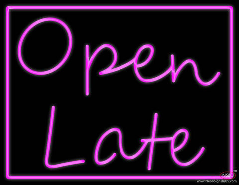 Open Late Real Neon Glass Tube Neon Sign