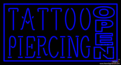 Blue Tattoo Piercing Open Real Neon Glass Tube Neon Sign