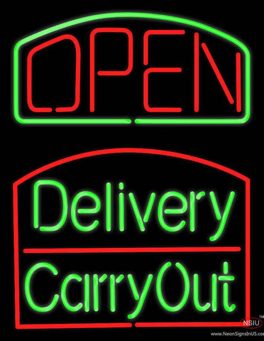 Open Delivery Carry Out Real Neon Glass Tube Neon Sign