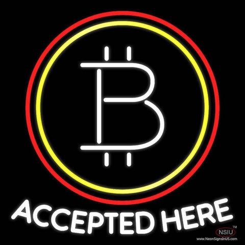Bitcoin Accepted Here Real Neon Glass Tube Neon Sign