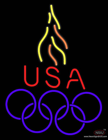 Usa Olympic Logo Real Neon Glass Tube Neon Sign