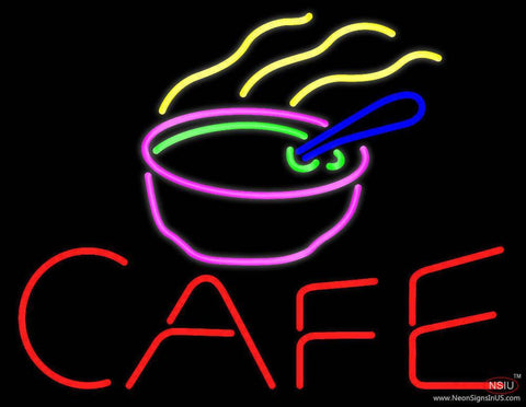 Cafe With Chinese Bowl Real Neon Glass Tube Neon Sign