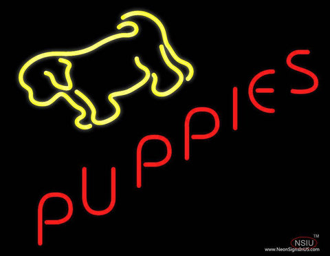 Yellow Puppies Real Neon Glass Tube Neon Sign
