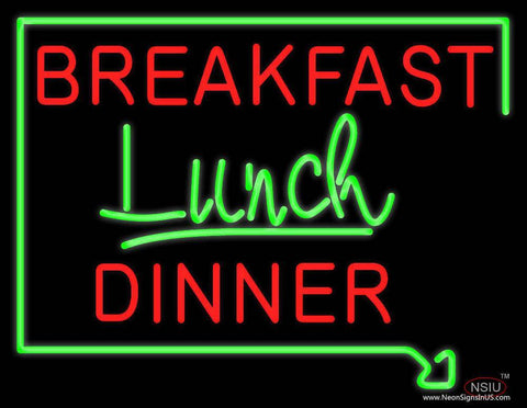 Breakfast Lunch Dinner Real Neon Glass Tube Neon Sign