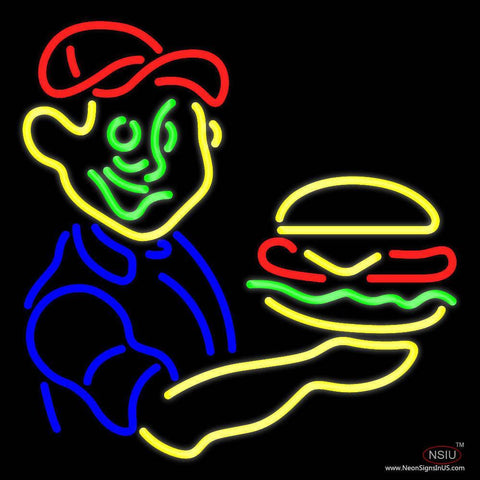 Burger Boy With Burger Real Neon Glass Tube Neon Sign