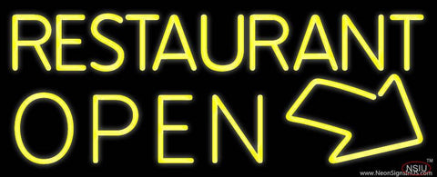 Red Restaurant Open With Arrow Real Neon Glass Tube Neon Sign