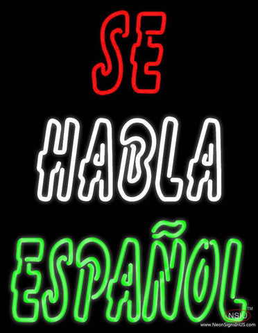 Se Habla Espanol Real Neon Glass Tube Neon Sign