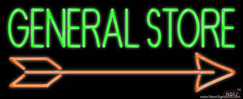 General Store With Arrow Real Neon Glass Tube Neon Sign
