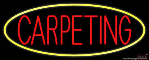 Red Carpeting Yellow Oval Real Neon Glass Tube Neon Sign