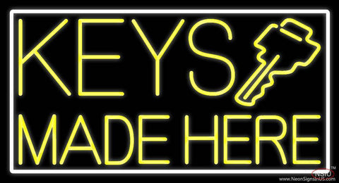 Yellow Keys Made Here Real Neon Glass Tube Neon Sign