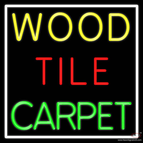 Wood Tile Carpet  Real Neon Glass Tube Neon Sign