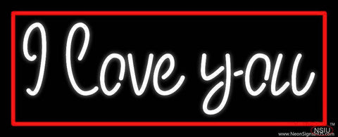 White I Love You With Red Border Real Neon Glass Tube Neon Sign