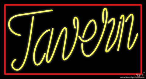 Yellow Tavern With Red Border Real Neon Glass Tube Neon Sign