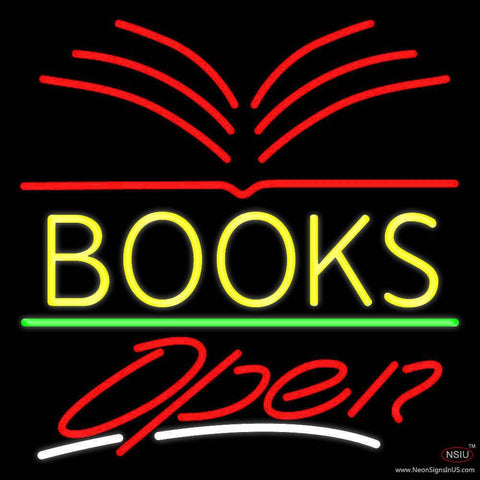 Yellow Books Open Real Neon Glass Tube Neon Sign