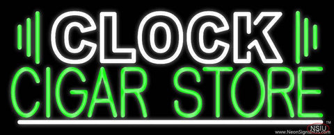 Clock Cigar Store Real Neon Glass Tube Neon Sign