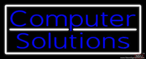 Computer Solutions With White Border Real Neon Glass Tube Neon Sign