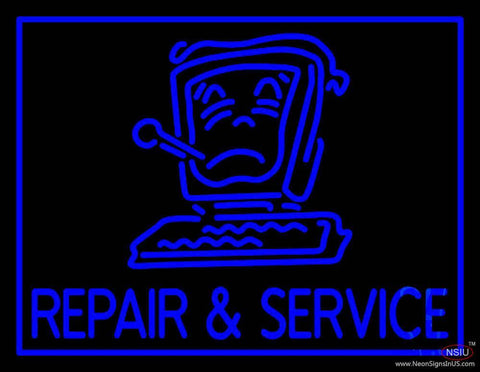 Computer Logo Repair And Service Real Neon Glass Tube Neon Sign