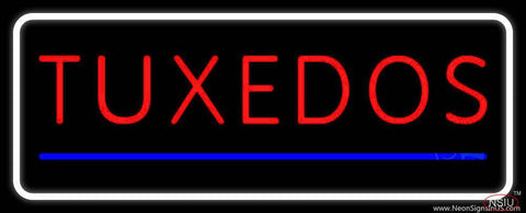 White Border Tuxedos Blue Line Real Neon Glass Tube Neon Sign
