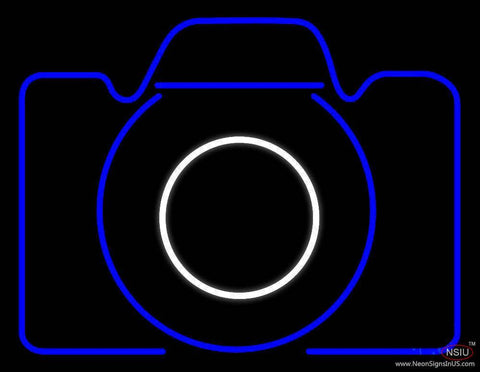 Camera In Blue Real Neon Glass Tube Neon Sign
