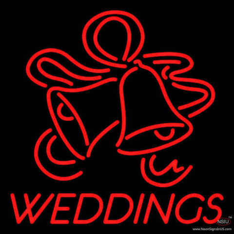 Red Weddings Bell Real Neon Glass Tube Neon Sign