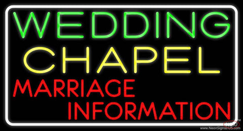 White Border Wedding Chapel Marriage Information Real Neon Glass Tube Neon Sign