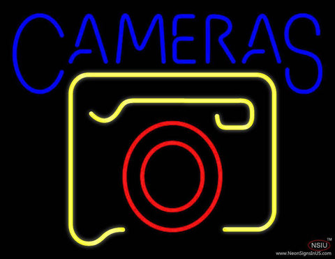 Yellow Cameras Logo Real Neon Glass Tube Neon Sign