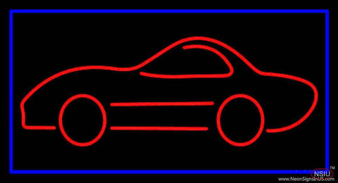 Car Logo With Blue Border Real Neon Glass Tube Neon Sign