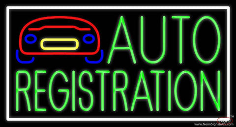 Green Auto Registration With Car Logo Real Neon Glass Tube Neon Sign