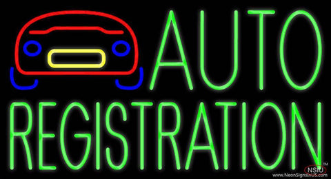 Green Auto Registration With Logo Real Neon Glass Tube Neon Sign