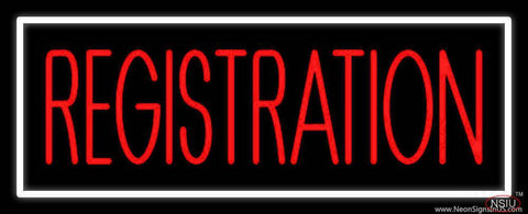 Red Registration White Border Real Neon Glass Tube Neon Sign