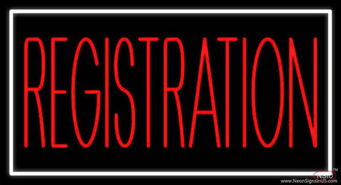 Red Registration Real Neon Glass Tube Neon Sign
