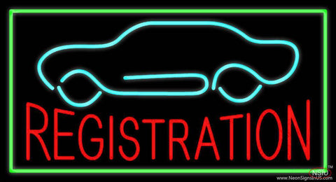 Red Registration Car Logo Green Border Real Neon Glass Tube Neon Sign
