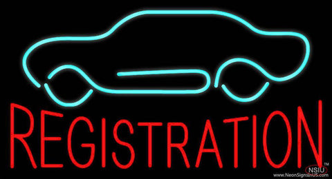 Red Registration Car Logo Real Neon Glass Tube Neon Sign