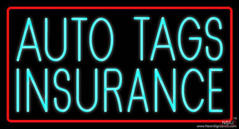 Turquoise Auto Tags Insurance Red Border Real Neon Glass Tube Neon Sign
