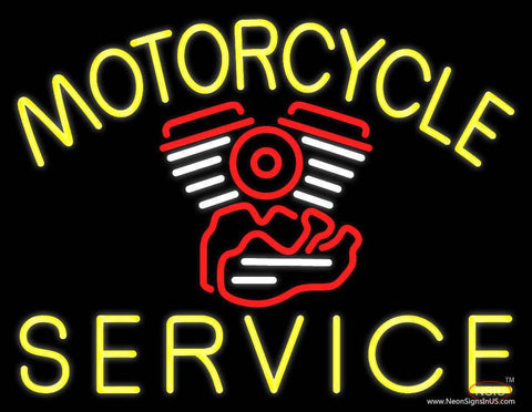 Yellow Motorcycle Service Real Neon Glass Tube Neon Sign