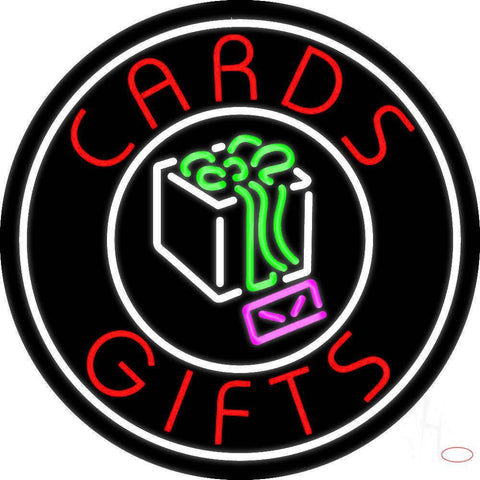 Cards And Gifts Block Logo Real Neon Glass Tube Neon Sign