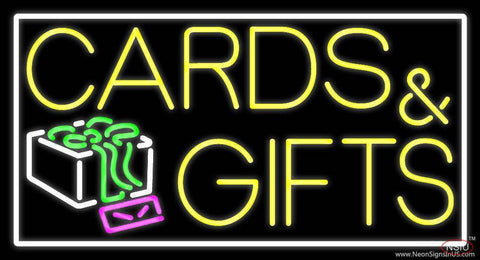 Cards And Gifts Block White Border Real Neon Glass Tube Neon Sign