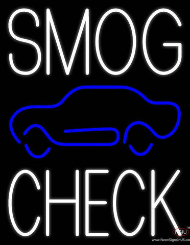 White Smog Check Car Logo Real Neon Glass Tube Neon Sign