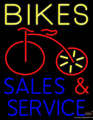 Yellow Bikes Blue Sales And Service Real Neon Glass Tube Neon Sign