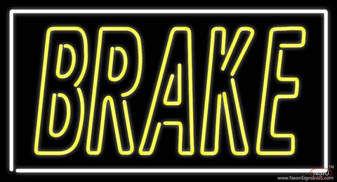 Yellow Brake With White Border Real Neon Glass Tube Neon Sign
