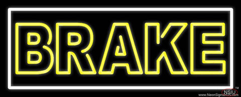 Yellow Brake With Border Real Neon Glass Tube Neon Sign
